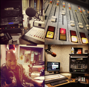 A four-square grid: a microphone in an air studio, a closeup of a soundboard, a medium shot of a production studio, and a bald man holding a pair of headphones, addressing the camera.